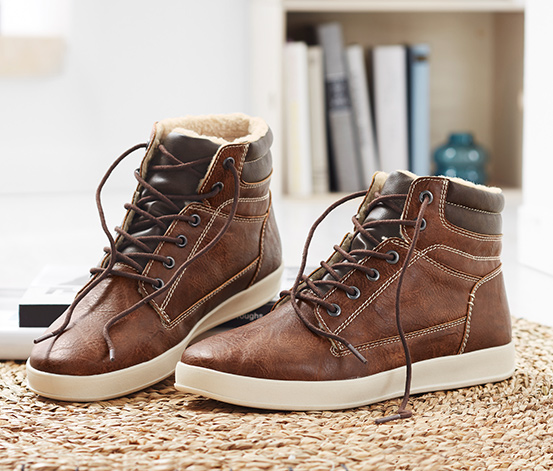 Férfi magas szárú cipő, barna, bőrhatású