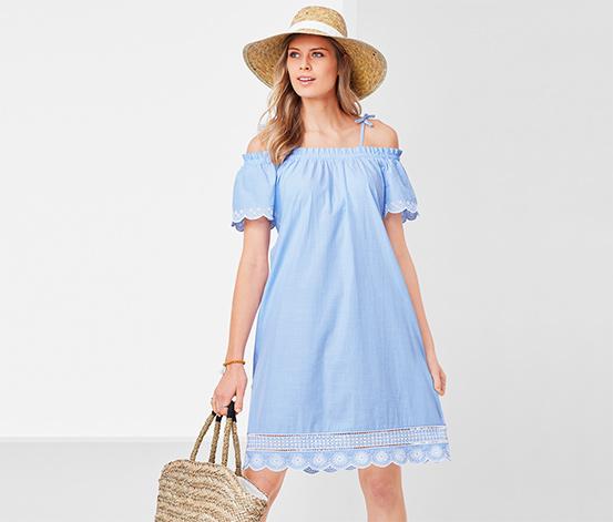 Šaty s odhalenými ramenami a ažúrovou výšivkou