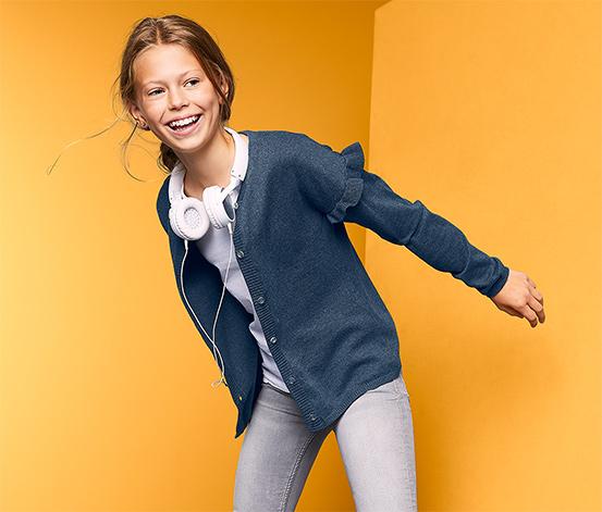 Dziewczęca bluza z dzianiny zapinana na guziki