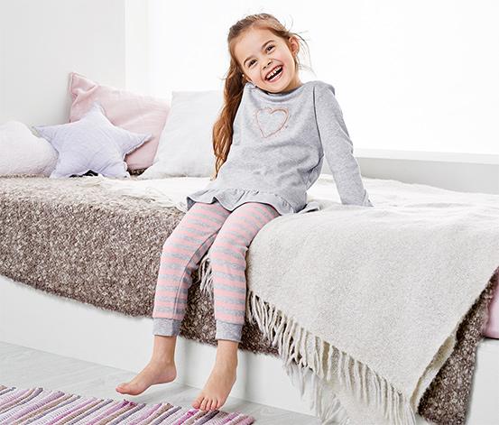 Lányka pizsama, világosszürke
