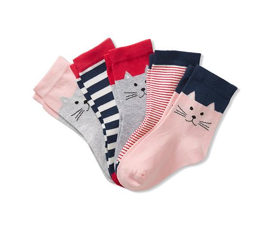 5 pár lányka zokni szettben, rózsaszín