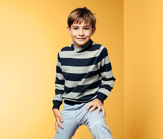 Fiú finom kötésű pulóver, csíkos
