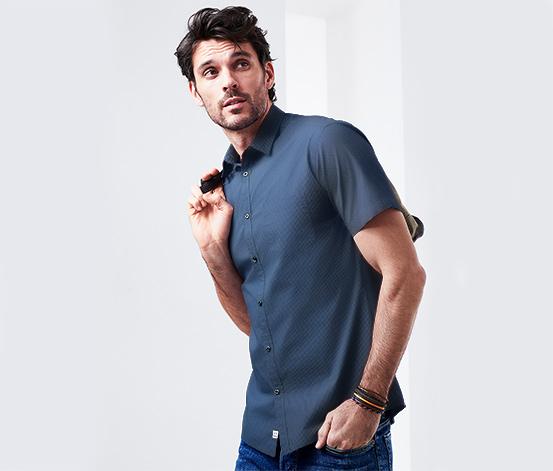 Férfi rövid ujjú ing, mintás