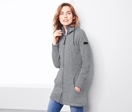 Manteau à capuche en matière polaire tricotée