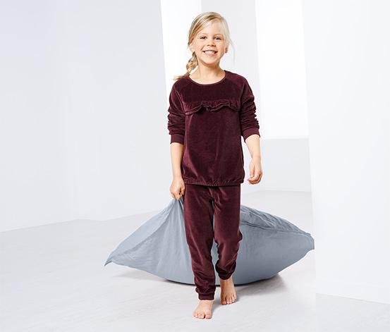 Lányka plüss pizsama, bordó