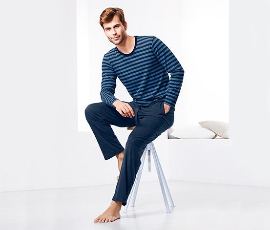 Férfi jersey pizsama, hosszú, kék