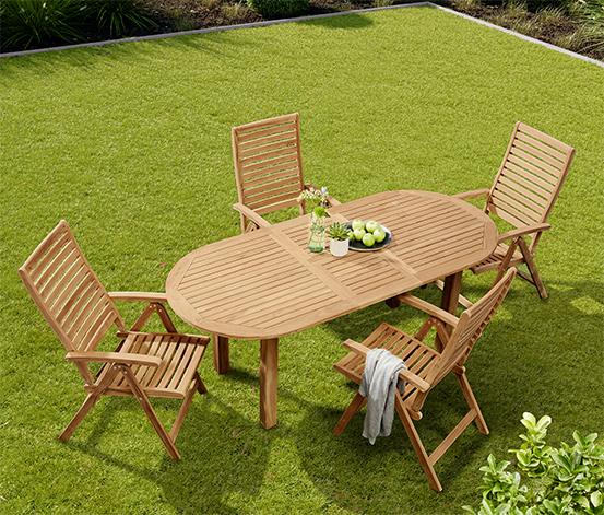 Kerti asztal, bővíthető, ovális, teak