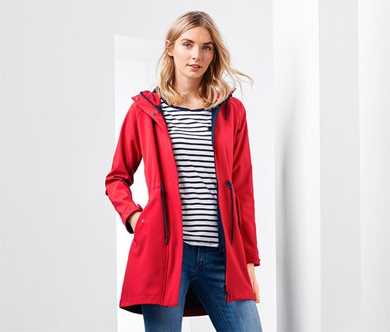 Kapucnis softshell kabát, piros