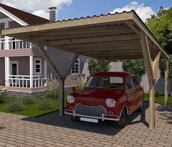 WEKA-Y-Einzel-Carport mit Flachdach
