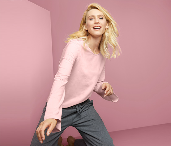 Női lezser hosszú ujjú felső, rózsaszín