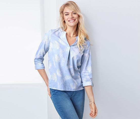 Açık Mavi Beyaz Organik Pamuklu Tunik Bluz