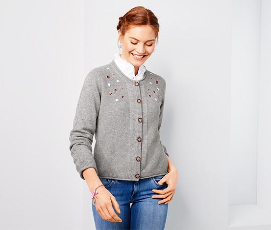 Sweter rozpinany w stylu ludowym