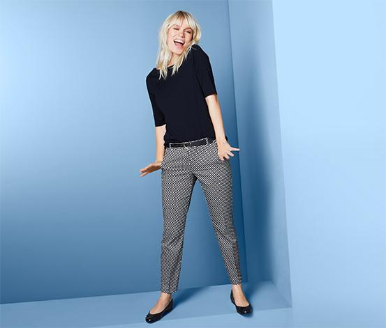 Damskie spodnie z nadrukiem w groszki