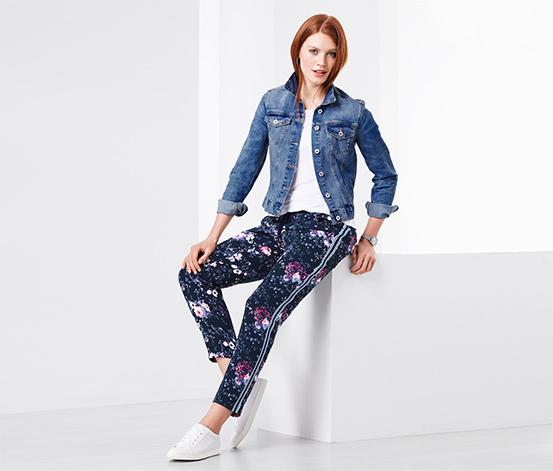 Tkane spodnie z motywem kwiatowym