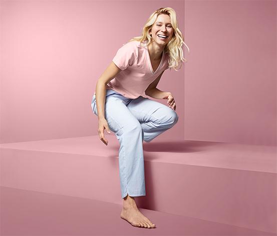 Női pizsama, rövid ujjú, rózsaszín