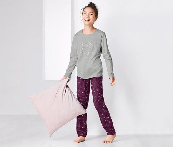 Lány pizsama, bordó, csillagos