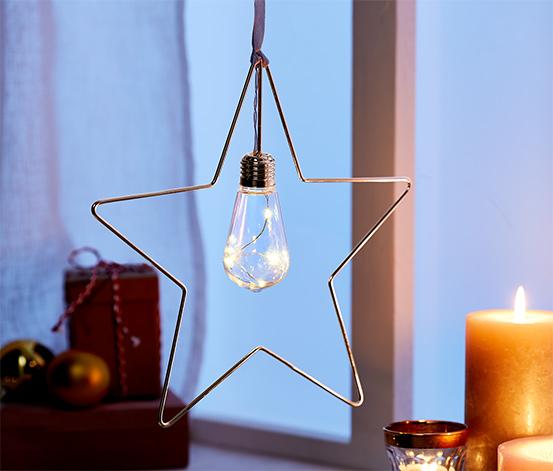 Kovová ozdoba s LED, hviezda