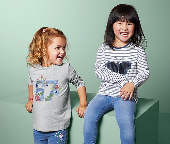 Dziewczęce bawełniane koszulki z długim rękawem, 2 sztuki