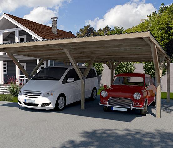 WEKA-Y-Doppel-Carport mit Flachdach