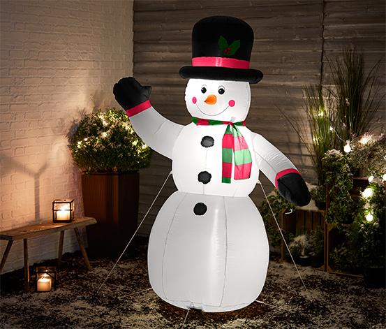 Uppblåsbar XXL-snögubbe med LED-lampor