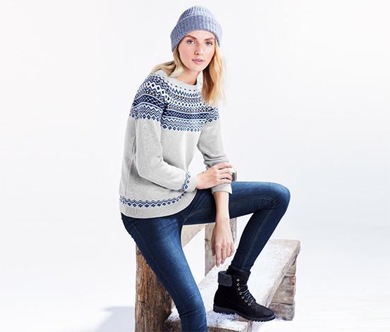 Pletený pulóver s nórskym vzorom