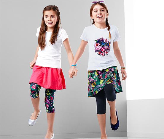 2 lányka 3/4-es leggings szettben, mintás