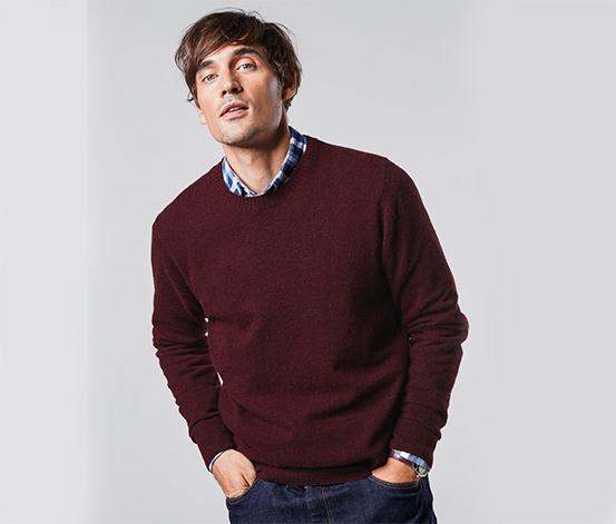 Férfi pulóver, gyapjúval, bordó