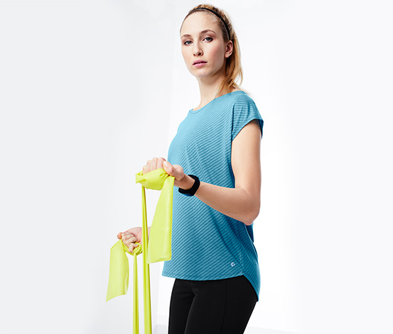 Női sport felső, kék, csíkos