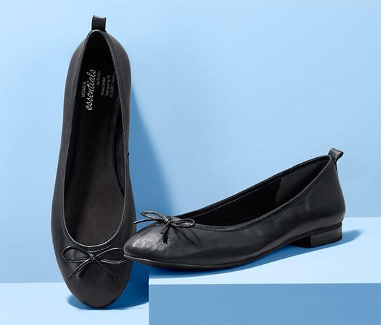 Női balerina cipő, bőr, fekete