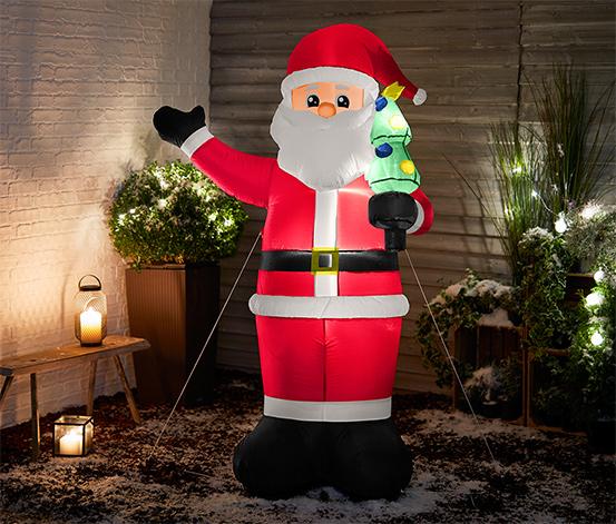Uppblåsbar XXL-jultomte med LED-lampor