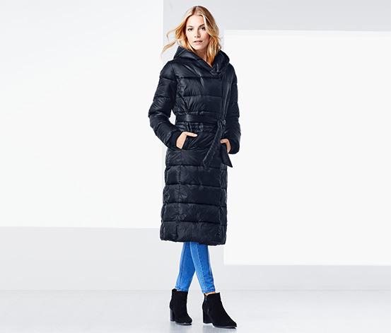 Női hosszú steppelt kabát