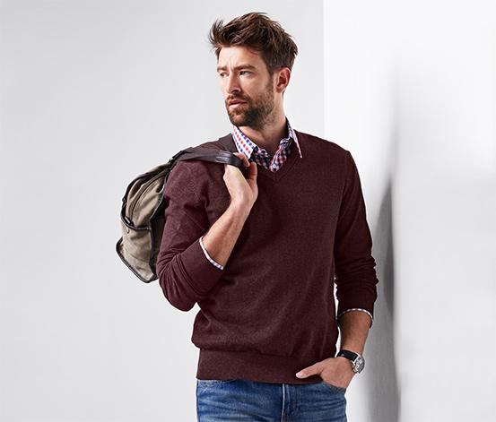 Férfi V-nyakú pulóver