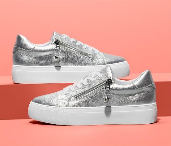 Női bőr sneaker cipő, ezüst