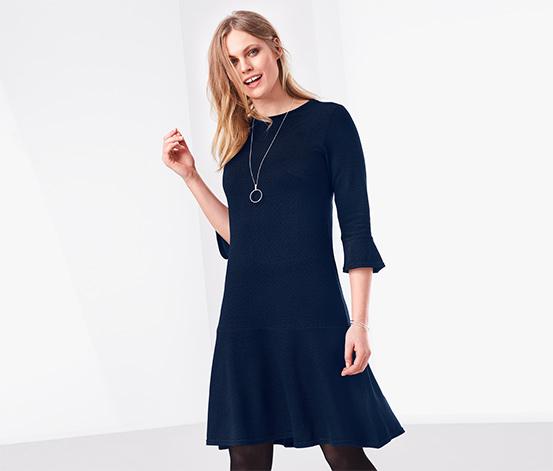 Lacivert Volanlı Midi Elbise