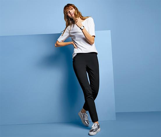 Damskie spodnie ze stretchu z wąskimi nogawkami