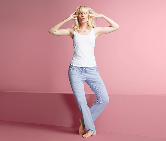 Miękkie spodnie rekreacyjne z dżerseju ze sznurkiem ściągającym w pasie