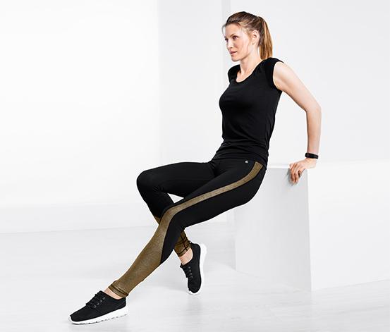 Damskie legginsy sportowe ze złocistymi wstawkami po bokach