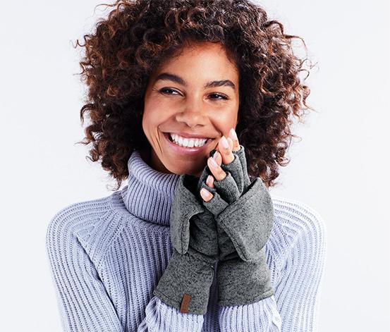 Handsker med luffeklap i strikfleece