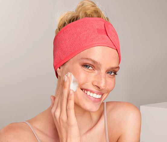 Zestaw 2 opasek kosmetycznych, różowa i szara