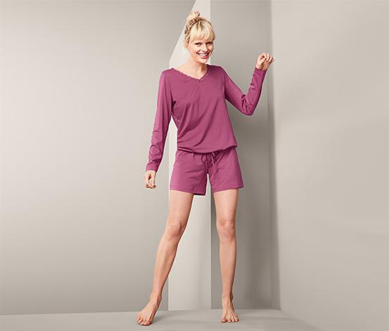 Piżama damska 2-częściowa: koszulka z długim rękawem i krótkie spodenki