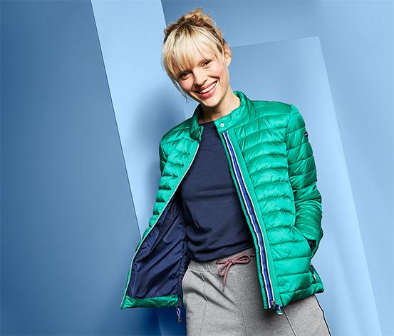 Női steppelt kabát, zöld
