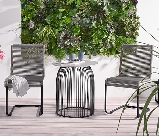Okrągły stół ogrodowy z ażurową ramą, 60 x 60 cm
