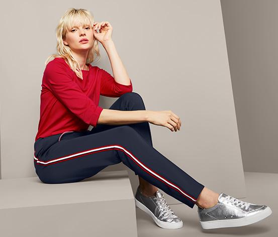Spodnie typu jogger pants z ozdobnym lampasem