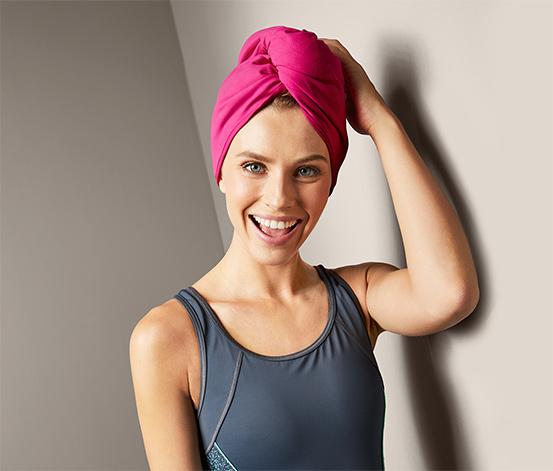 Wygodny ręcznik turban w kolorze ciemnoróżowym