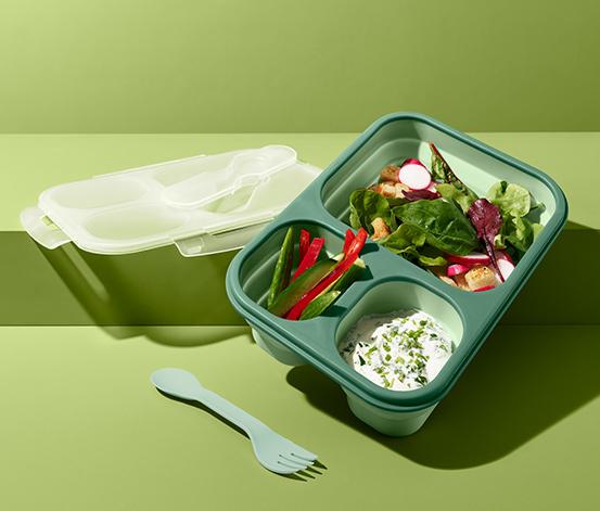 Składany lunchbox z 3 przegródkami i widelcem