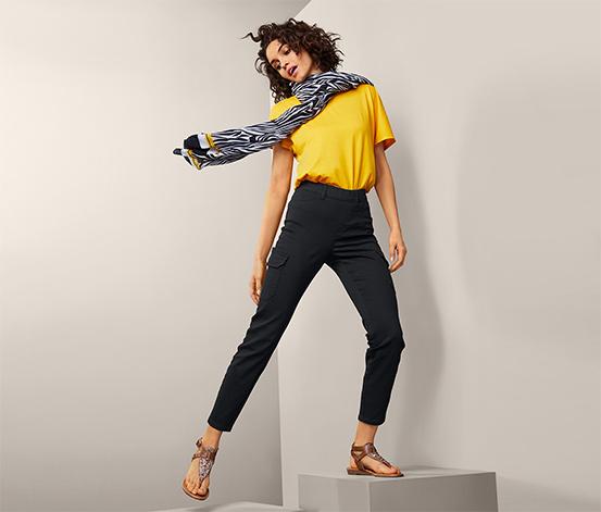 Damskie spodnie bojówki o długości do kostek, czarne
