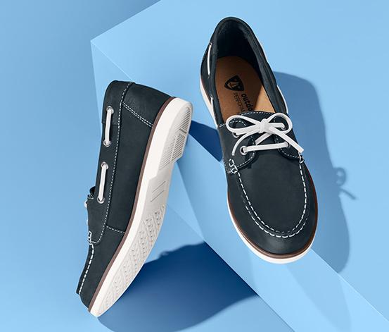 Granatowe buty żeglarskie ze skóry nubukowej
