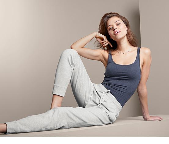 Damskie spodnie rekreacyjne, jasnoszare nakrapiane