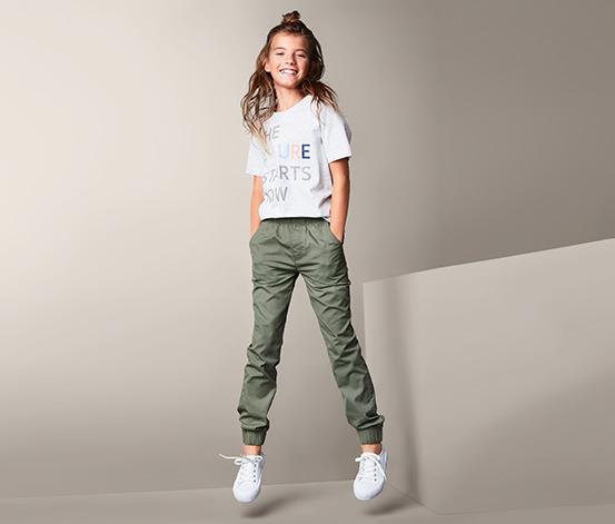 Dziewczęce spodnie dresowe z gumką w pasie