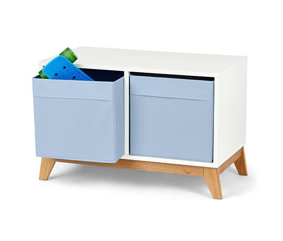 Coffre avec tiroirs en textile, bleu